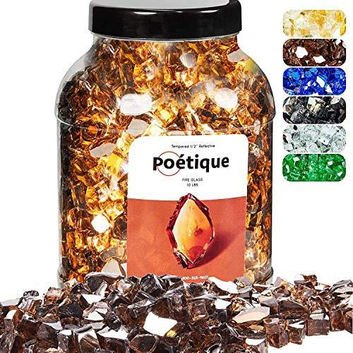 Motovecor Reflektierendes Feuerglas für natürliche oder Propan-Feuerstelle, hochglanzgehärtete Feuersteine aus bernsteinfarbenem Kupfer, 4,5 kg, 12,7 cm, Außen- und Innenbereich
