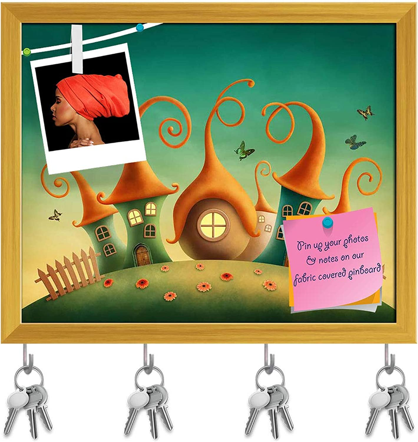 Artzfolio Fantasy Houses D2 Key Holder Hooks   Notice Pin Board   golden Frame 19.8 X 16Inch