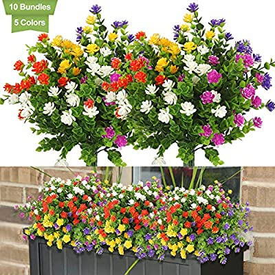 Linkstyle 10 Bundles Artificial Flowers Outdoor Fake Flowers for Home Decoration, UV Resistant Faux Plastic Greenery Shrubs Plants for Hanging Garden Porch Window Box Décor, 5 Colors