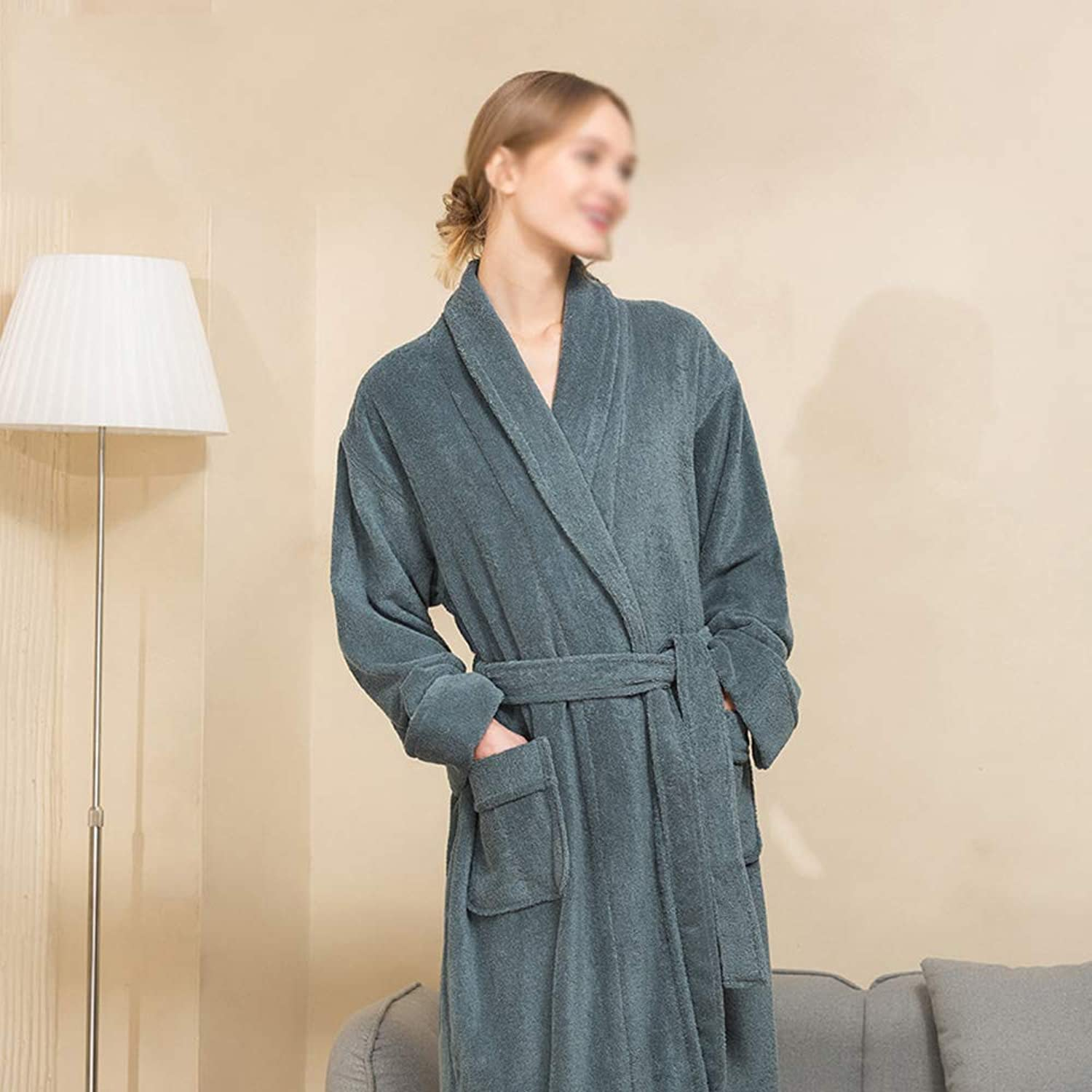 Extra Long Bathrobes, Women's Men's Cotton Towels Thickening Bathroom Robes Hotel Couple Nightgown