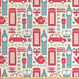 Ambesonne London Stoff von The Yard, beliebte britische