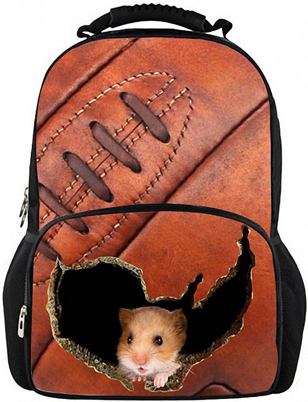 Unisex 3D Backpack Student Bookbag Travel Laptop School Bag Hamster Teenager Girls Ladies Feminine W3834A 44x31x18 cm