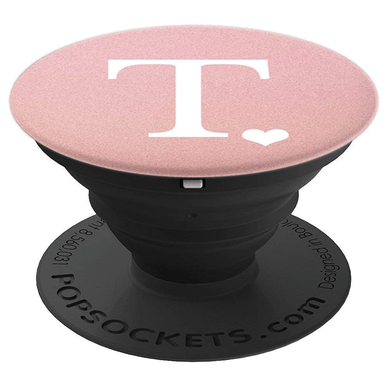 White Initial Letter T heart Monogram on Rose Pink - PopSockets Grip and Stand for Phones and Tablets