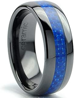8MM Dome Men's Black Ceramic Ring Wedding Band with Blue Carbon Fiber Inlay Sizes 5 to 15