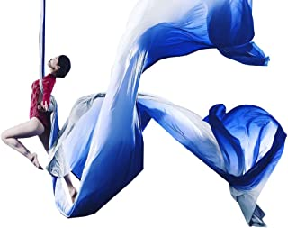 Ombre Aerial Silks Hand Dyed Aerial Fabrics for Aerial Yoga, Aerial Yoga Hammock, Aerial Acrobatic,Circus Arts, Aerial Dance (Blue Light, Swivel Ring-13yard)
