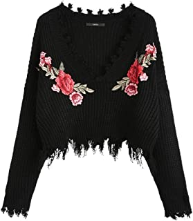 black sweater with roses on sleeves
