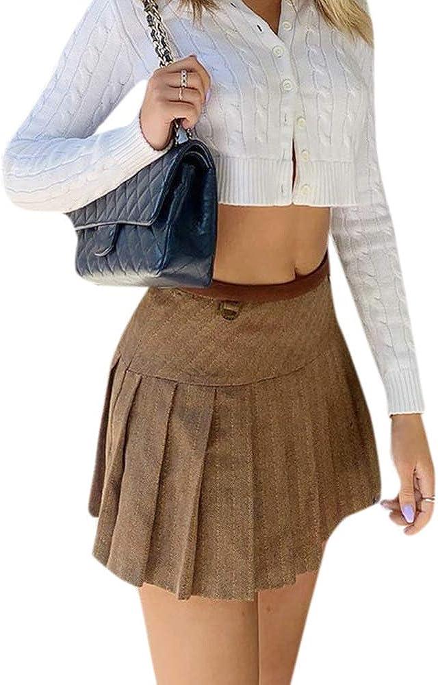 Noblik Fashion Pleated Skirts for Womens Preppy Style High Waist Casual Skirt Woman Autumn Streetwear L Khaki