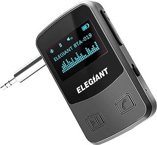 ELEGIANT Bluetooth Empfänger Aux OLED Anzeige Bluetooth 5.0 Adapter Audio Kabelloser Tragbar Receiver mit Freisprechanrufen für KFZ Auto HiFi Lautsprechersystem Heim Stereoanlage mit 3.5 mm Aux Input