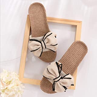 New Casual Sneakers for Home Slippers Summer Bow Zhaozb (Color : Beige, Size : 35)