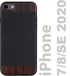 iATO iPhone SE 2020 / iPhone 8 Case Wood & Leather. Black Saffiano Genuine Leather & Real Bois de Rose Wood Case {Protective Shockproof & Raised Lips} Elegant iPhone 8 / SE Case 2020 Wood & Leather