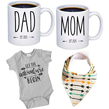 """Pregnancy Gift Est 2020 - New Mommy and Daddy Est 2020 11 oz Mug Heart Set with""""Let Adventurer Begin"""" Romper (0-3 Months) - Top Mom and Dad Gift Set for New and Expecting Parents to Be - Baby Shower"""