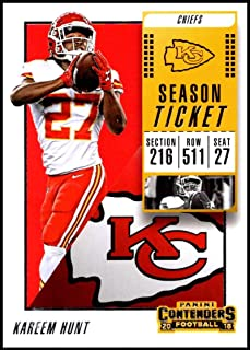 2018 Panini Contenders Season Tickets Football #53 Kareem Hunt Kansas City Chiefs Official NFL Trading Card