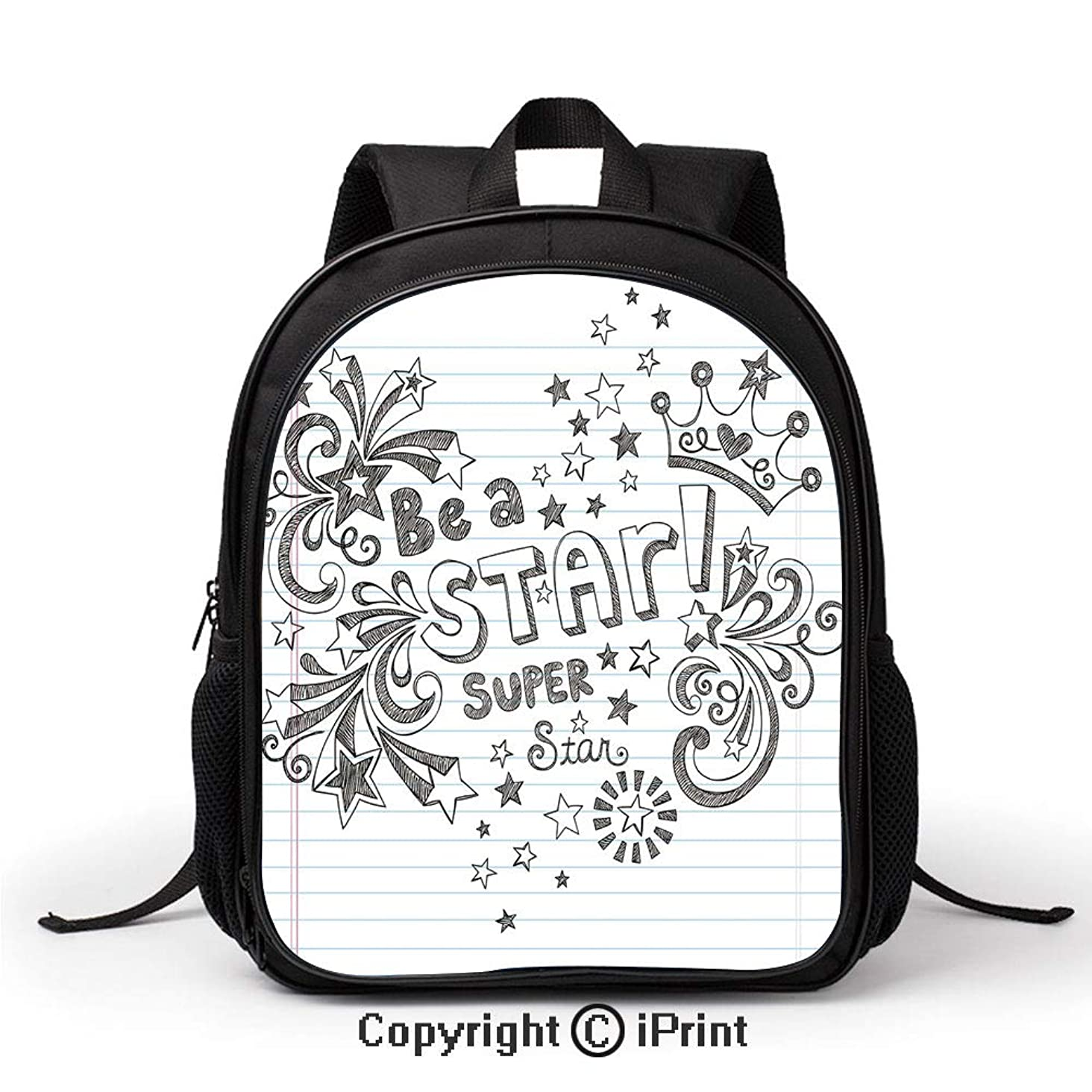 Women's Anti Theft School Bag Be A Super Star Phrase on Notebook Paper Backdrop with Stars Crown Print Backpack :Suitable for Men and Women,School,Travel,Daily use,etc,Grey White