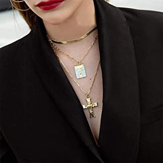 YERTTER Bohemian Dainty Multi Layer Cross Pendant Necklaces Punk Charms Chunky Necklaces Jewelry for Women Man