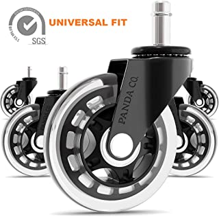 Panda Co. Office Chair Wheels - Set of 5 - Universal Fit Rollerblade 3 Inch Casters, Heavy Duty, Quiet and Safe for All Floors Including Hardwood, Replacement for Chair Mat