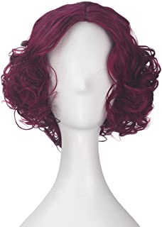 Miss U Hair Short Curly Wine Red Color Prestyled Clown Halloween Cosplay Costume Wig