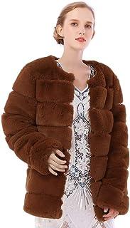 Dikoaina Women's Winter Soft Outerwear Warm Long Faux Fur Coat Jacket with Pockets
