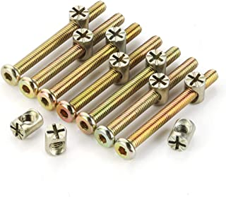 uxcell M6x90mm Furniture Bolt Nut Set Hex Socket Screw 56.7mm Thread Length with Barrel Nuts Phillips-Slotted 4 Sets