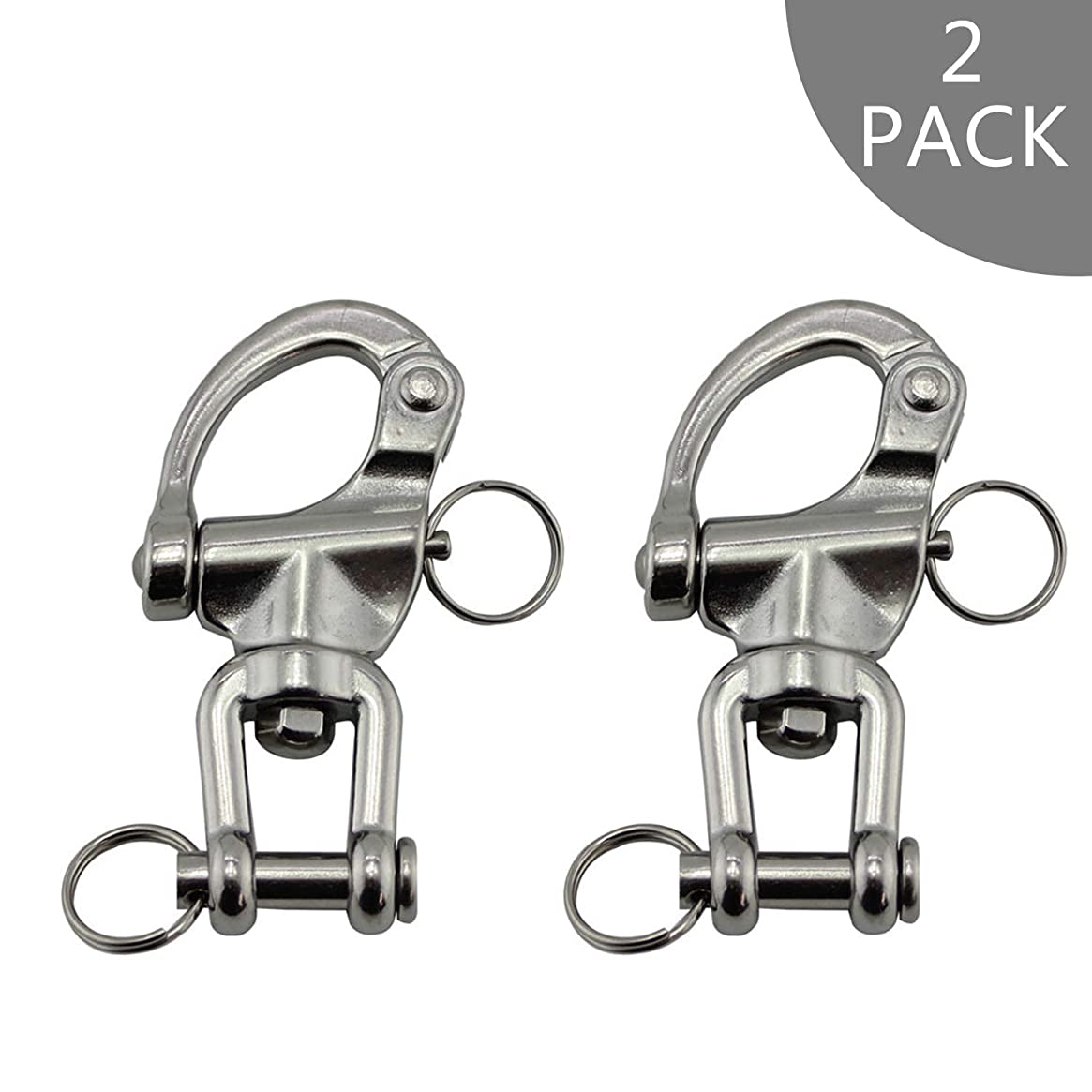 NRC&XRC Pair Jaw Swivel Snap Shackle 316 Stainless Steel for Sailboat Spinnaker Halyard &Diving