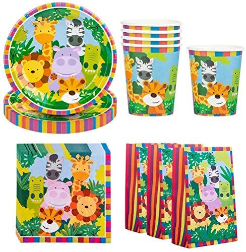 Amycute 16 niños Juego de Vajilla Diseño Animal , Set de Cubiertos Fiesta de Cumpleaños Infantil 16 Platos 16 Vasos 20 Servilletas 16 Bolsas de Regalo para Temática del Bosque