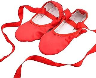 Women Girls Fashion Ribbon Ballet Shoes Toe Indoor Yoga Shoes Straps Body Shoes Adult Satin Dance Soft Bottom Two Gymnastics Ballet Dance Yoga Shoes