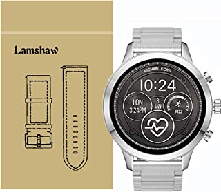 for Michael Kors Access Runway Bands, Lamshaw Stainless Steel Metal Replacement Straps for Michael Kors Women's Access Runway Smartwatch (Silver)