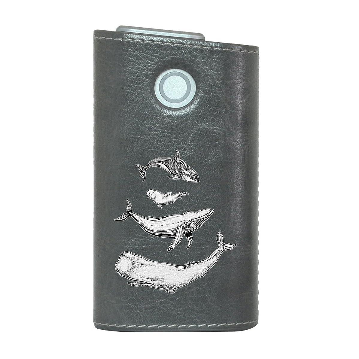 壁紙どこでも書士glo グロー グロウ 専用 レザーケース レザーカバー タバコ ケース カバー 合皮 ハードケース カバー 収納 デザイン 革 皮 GRAY グレー 海 生き物 アニマル 011427