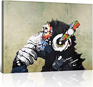 TONZON Modern Abstract Painting Cool Ape Listening Music Oil Painting on Canvas Framed Ready to Hang Decoration for Living Room