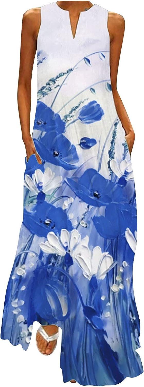 Women Summer Floral Sleeveless Pocket Loose Dress 2021 Retro Plus Size Maxi Dress V-Neck Sexy Female Long Dress