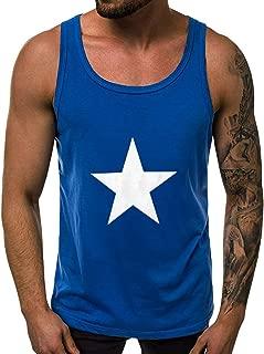 IHGTZS Tank Tops for Men, Men Fitness Muscle Print Sleeveless Bodybuilding Tight-Drying Vest Tops Blouses