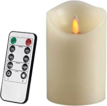 Air Zuker Flameless Candles Battery Operated Pillar LED Candle, Real Wax & Dancing Flame Motion Candle with Timer and 10-Key Remote, Use AAA Batteries[not-Included], 3.25 X 5-Inch, Ivory