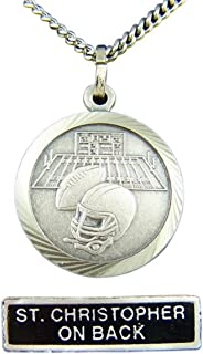 Nickel Silver Patron Saint Christopher Football Medal Pendant, 7/8 Inch