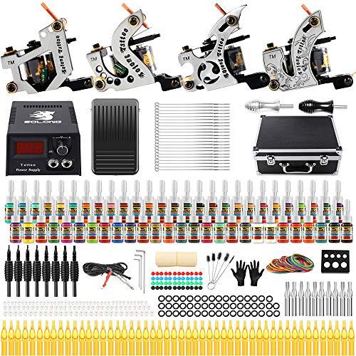 Solong Tattoo Complete Starter Beginner Tattoo Kit 4 Pro Machine Guns 54 Inks Power Supply Foot...