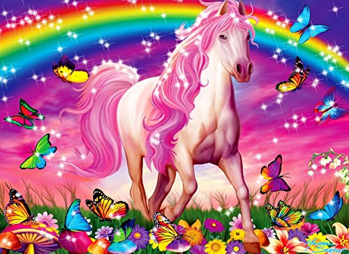 Rainbow UNICORN Butterflies Flowers Personalized Birthday Edible Frosting Image 1/4 sheet Cake Topper