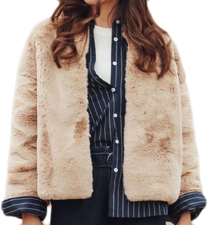 CoolredWomen Pure color Warm Short Winter Faux Fur Outwear Jacket Coat