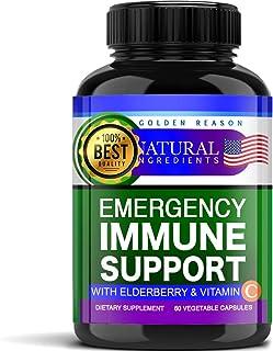 Emergency Immune Support. Vitamins, Elderberry, Turmeric, Garlic, Zink & Vitamin C. Fast Potency Absorb. Non GMO. Made in USA