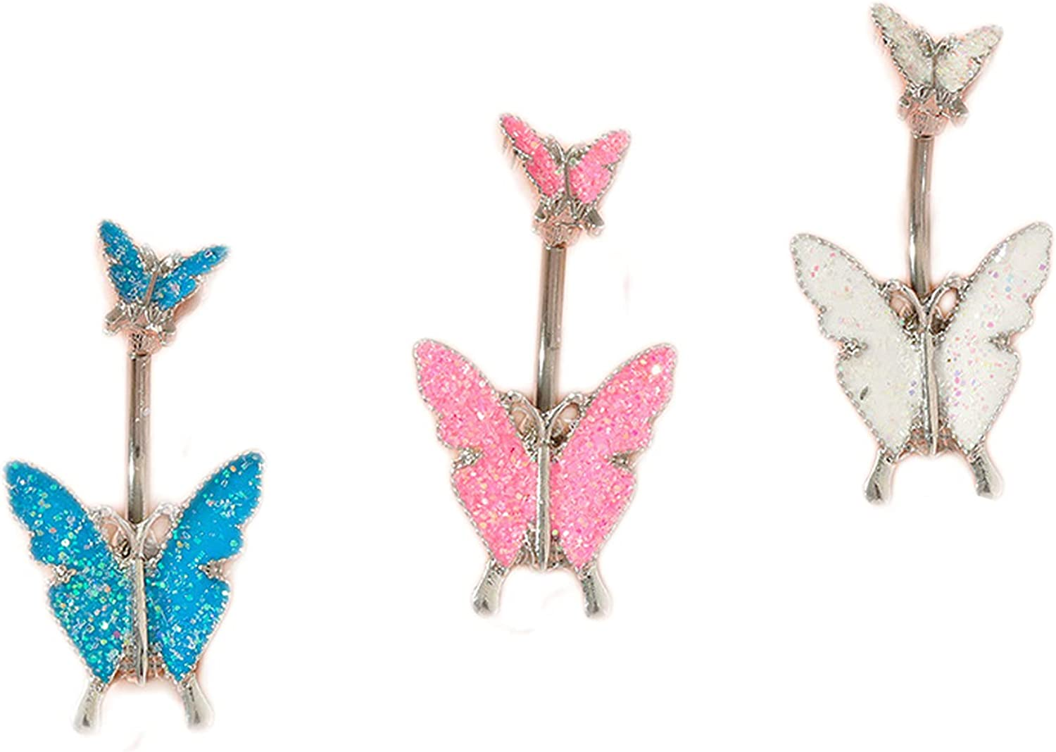 COLORFUL BLING 3Pcs Delicate Cubic Zircon Butterfly Dangle Belly Button Rings for Women Girls Surgical Steel Animals Navel Barbell Body Piercing Jewelry