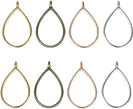 LANBEIDE Bezel Charms Pendants Frame Open Back Bezel Hollow Mold Pressed Flower for Jewelry Resin Earring Necklace Bracelet 20 PCS,Teardrop