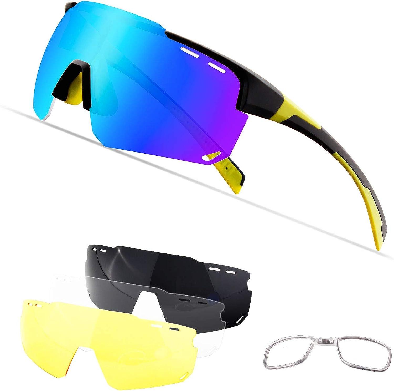 OULIQI Gafas De Sol Polarizadas para ,Gafas Ciclismo ,Ciclismo con 4 Lentes Intercambiables UV400 Y Montura De TR-90, Gafas para MTB Bicicleta Montaña 100% De Protección UV