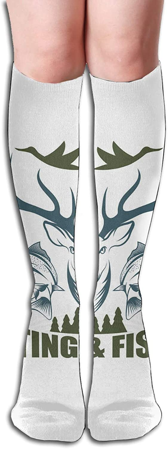 Compression High Socks-Artistic Emblem Moose Head Horns Trout Salmon Sea Fishes Best for Running,Athletic,Hiking,Travel,Flight