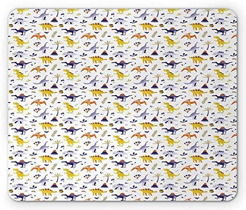 Mausepad Jurassic Kinder Design Von Dinosauriern Und Botanik-Artikeln Auf Einem Einfachen Hintergrund Weiß Lila Senf Weiß 25X30Cm Tastatur Benutzerdefinierte Desktops Gedruckte Mo
