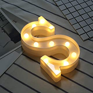 DIY 3Dアルファベット文字ライトLEDナイトライト、26アルファベット0-9数字マーキーサインナイトランプホームパーティーバーウェディングフェスティバル誕生日装飾ギフト。 文字 S 16CM