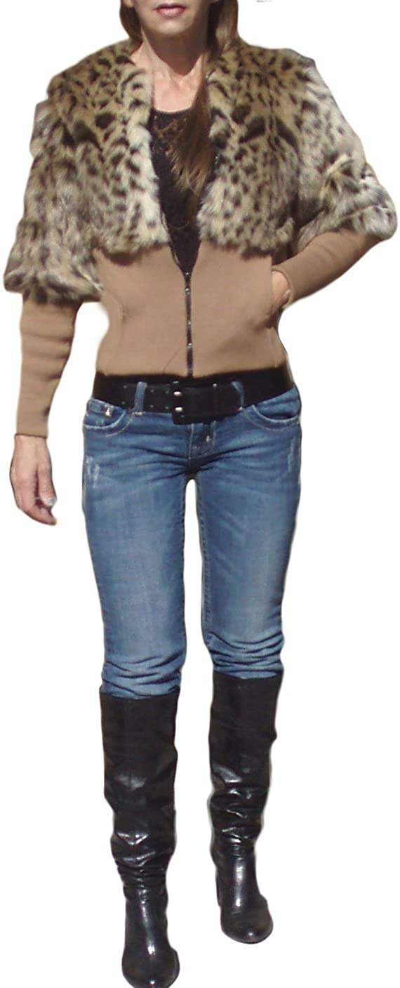 Ooh La La Women's Faux Fur Cropped Coat with Knit Sleeves and Waistband