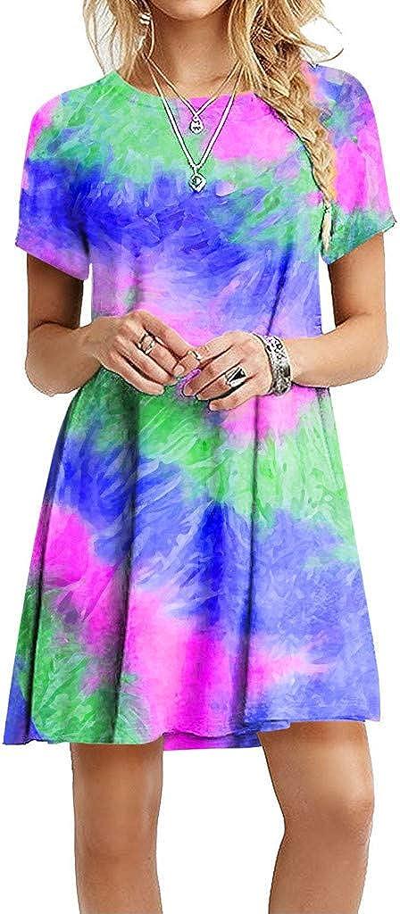 T-Shirt Dresses for Women, Tie-Dye Floral Short Sleeve Tunic Dress Shirt Summer Swimsuit Cover Ups Night Club Dress