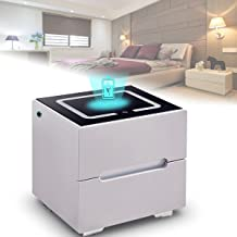 Modern Bedside Cabinet, Smart Bedside Table, with Wireless USB Charging, Led Three Color Night Light, 2 Drawer, 19.6 * 15....