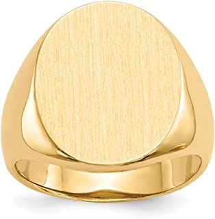 FB Jewels Solid 14K Yellow Gold Mens Signet Ring