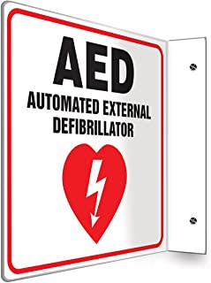 "Accuform PSP721 Projection Sign 90D, Legend""AED AUTOMATED External DEFIBRILLATOR"", 8"" x 8"" Panel, 0.10"" Thick High-Impact Plastic, Red/Black on White"