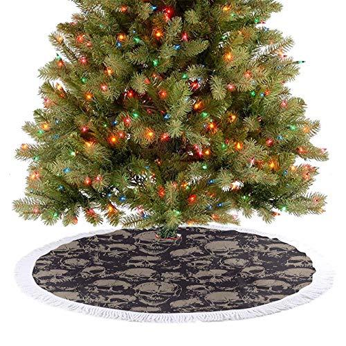 Decoración para árbol de Navidad con diseño de calaveras grunge aterradoras para cementerio de muerte mal cara tema, diseño 2020, diseño simple pero elegante, color gris bronceado 122 cm
