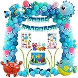 Decoración de fiesta de cumpleaños de mar azul con animales marinos pez globo pez globo globo de cangrejo hipocampo, kit de suministros para fiestas para niños con pancarta