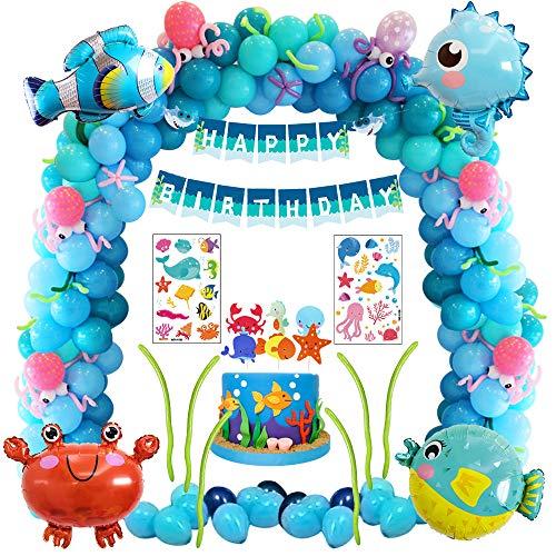 MMTX Decoración de Fiesta de cumpleaños de mar Azul con Animales Marinos pez Globo pez Globo Globo de Cangrejo hipocampo, Kit de Suministros para Fiestas para niños con Pancarta